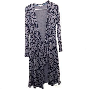 Boden Grey Floral Long Sleeve Full Wrap Dress